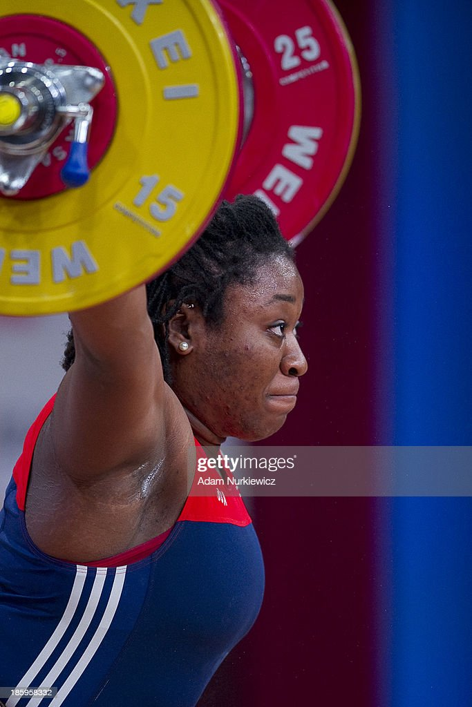 Chioma Madonna Amaechi from USA lifts in the Snatch competition women's 75 kg Group A during weightlifting IWF World Championships Wroclaw 2013 at Centennial Hall on October 26, 2013 in Wroclaw, Poland