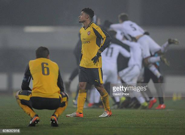 Chiori Johnson of Arsenal dejected after the match the UEFA Champions League match between FC Basel and Arsenal at Leichtathletik Stadion on December...
