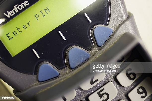 A chip and pin debit console is seen on 23 February in Manchester England In the wake of Britain's biggest cash robbery taking at least GBP25 million...
