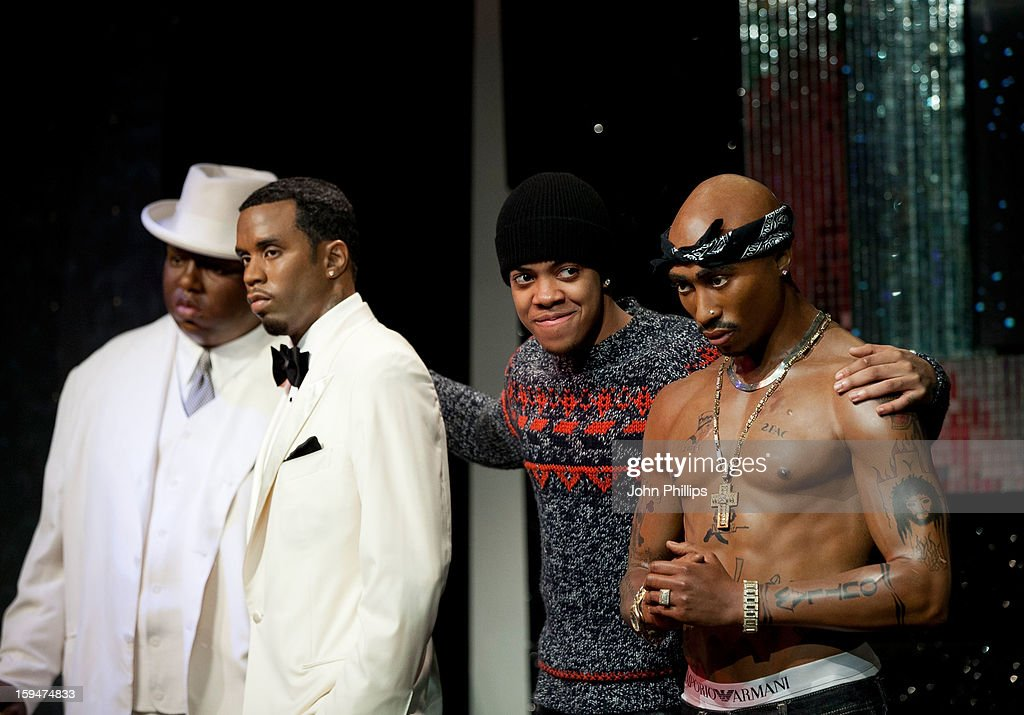 Chip (Formerly Chipmunk) (2nd R) attends a photocall to launch the new wax figures of rap stars Biggie Smalls (The Notorious BIG) (L), P Diddy (3rd R) and Tupak Shakur (R), exhibited together for the first time in London at Madame Tussauds on January 14, 2013 in London, England.