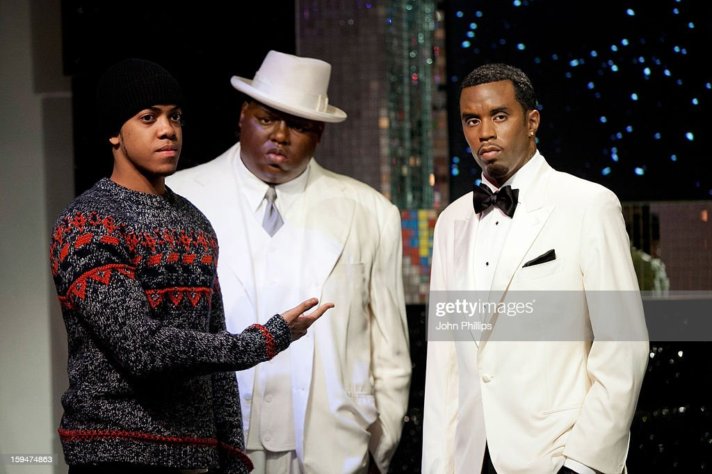 Chip (Formerly Chipmunk) (L) attends a photocall to launch the new wax figures of rap stars Biggie Smalls (The Notorious BIG) and P Diddy (R), exhibited together for the first time in London at Madame Tussauds on January 14, 2013 in London, England.
