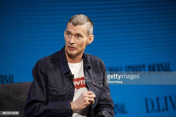 Chip Bergh chief executive officer of Levi Strauss Co speaks during the Wall Street Journal DLive global technology conference in Laguna Beach...