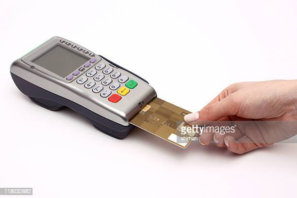 Chip debit card reader being used by customer