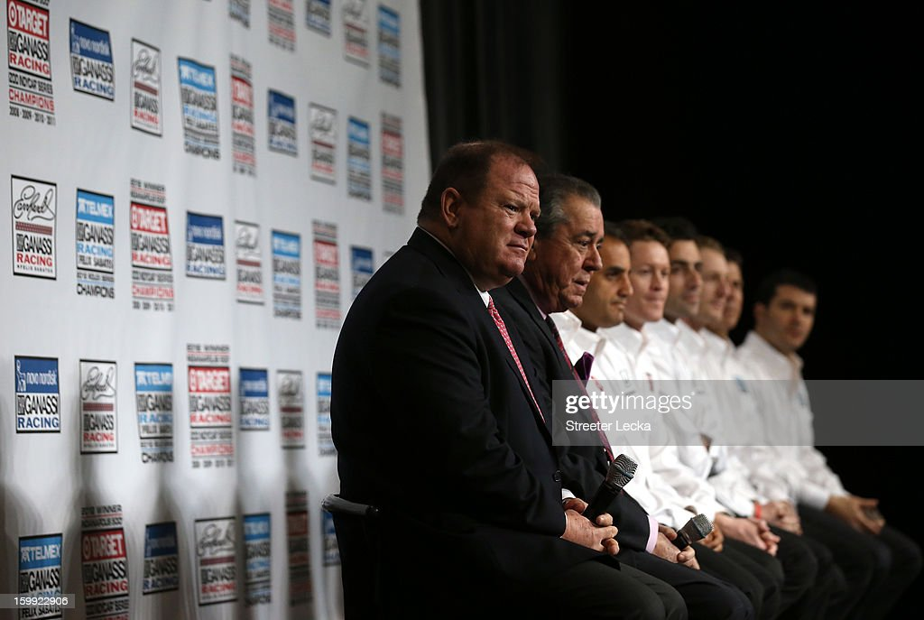 Chip Ganassi, co-owner of Earnhardt Ganassi Racing, sits alongside Felix Sabates as they speak to the media during the 2013 NASCAR Sprint Media Tour at the Concord Airport on January 23, 2013 in Concord, North Carolina.