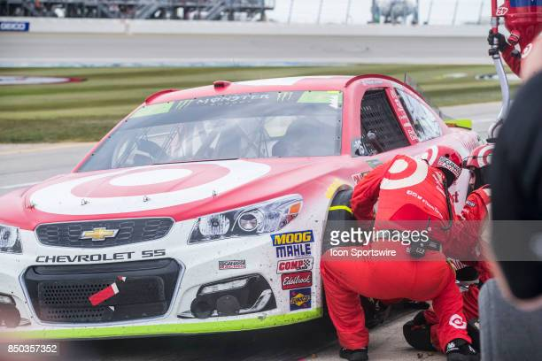 Chip Ganassi Racing Target Chevy driver Kyle Larson pits during the Monster Energy Cup Series Tale of the Turtles 400 on September 17 at Chicagoland...