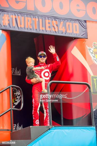 Chip Ganassi Racing Target Chevy driver Kyle Larson waves to the fans during the Monster Energy Cup Series Tale of the Turtles 400 driver...