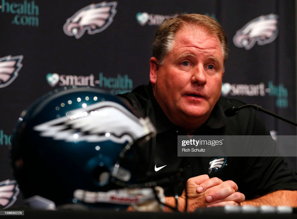 Chip Kelly is introduced as the new head coach of the Philadelphia Eagles during a news conference at the team's NovaCare Complex on January 17, 2013 in Philadelphia, Pennsylvania. The former Oregon coach surprised many after he initially turned down NFL clubs saying he would remain at Oregon.
