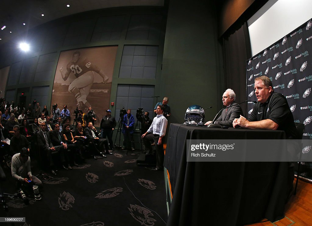 Chip Kelly (R) is introduced as the new head coach of the Philadelphia Eagles as team owner Jeffrey Lurie looks on during a news conference at the team's NovaCare Complex on January 17, 2013 in Philadelphia, Pennsylvania. The former Oregon coach surprised many after he initially turned down NFL clubs saying he would remain at Oregon.