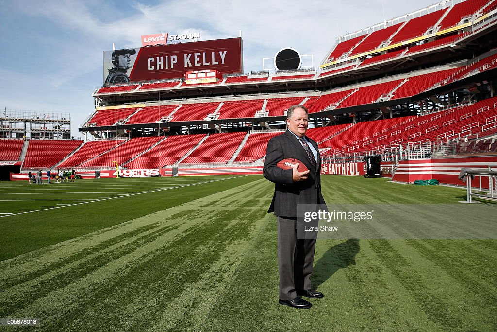<a gi-track='captionPersonalityLinkClicked' href=/galleries/search?phrase=Chip+Kelly&family=editorial&specificpeople=6161242 ng-click='$event.stopPropagation()'>Chip Kelly</a> stands on the field after a press conference where he was announced as the new head coach of the San Francisco 49ers at Levi's Stadium on January 20, 2016 in Santa Clara, California.
