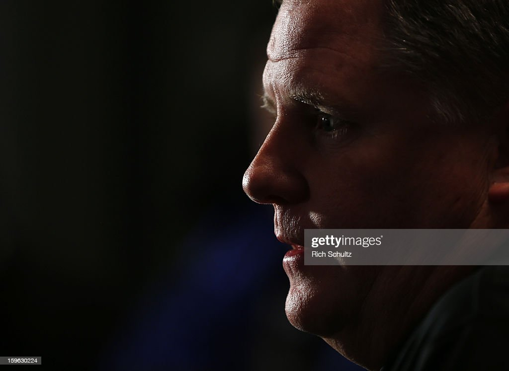 Chip Kelly talks to the media after being introduced as the new head coach of the Philadelphia Eagles during a news conference at the team's NovaCare Complex on January 17, 2013 in Philadelphia, Pennsylvania. The former Oregon coach surprised many after he initially turned down NFL clubs saying he would remain at Oregon.