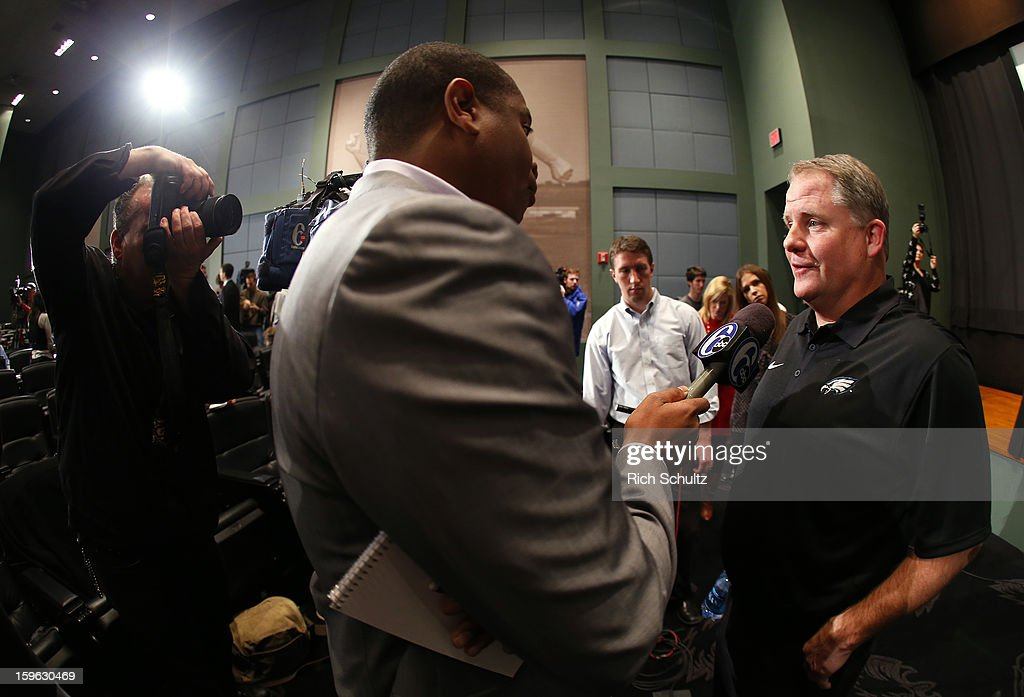 Chip Kelly (R) talks to the media after being introduced as the new head coach of the Philadelphia Eagles during a news conference at the team's NovaCare Complex on January 17, 2013 in Philadelphia, Pennsylvania. The former Oregon coach surprised many after he initially turned down NFL clubs saying he would remain at Oregon.