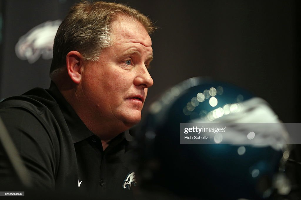 <a gi-track='captionPersonalityLinkClicked' href=/galleries/search?phrase=Chip+Kelly&family=editorial&specificpeople=6161242 ng-click='$event.stopPropagation()'>Chip Kelly</a> talks to the media after being introduced as the new head coach of the Philadelphia Eagles during a news conference at the team's NovaCare Complex on January 17, 2013 in Philadelphia, Pennsylvania. The former Oregon coach surprised many after he initially turned down NFL clubs saying he would remain at Oregon.