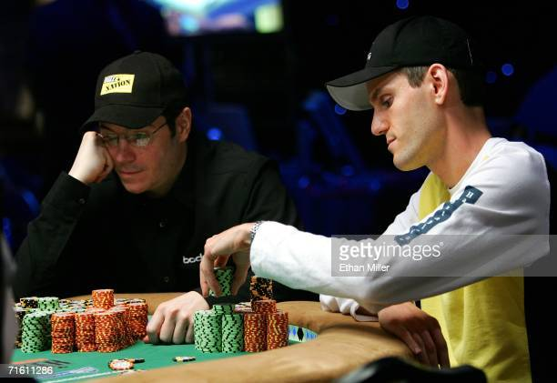 Chip leader Jamie Gold of California and second place chip holder Allen Cunningham of Nevada compete during the World Series of Poker nolimit Texas...