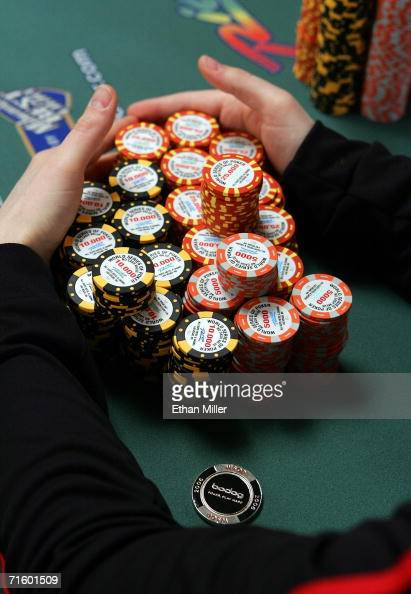Chip leader Jamie Gold of California gathers a stack of chips during the World Series of Poker nolimit Texas Hold 'em main event at the Rio Hotel...