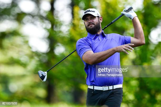 Chip Lynn hits his tee on the first hole during round three of the Mackenzie Investments Open at Club de Golf Les Quatre Domaines on July 22 2017 in...
