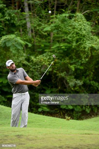 Chip Lynn of the United States hits a shot during the third round of the PGA TOUR Latinoamerica BMW Jamaica Classic at Cinnamon Hill Golf Course on...