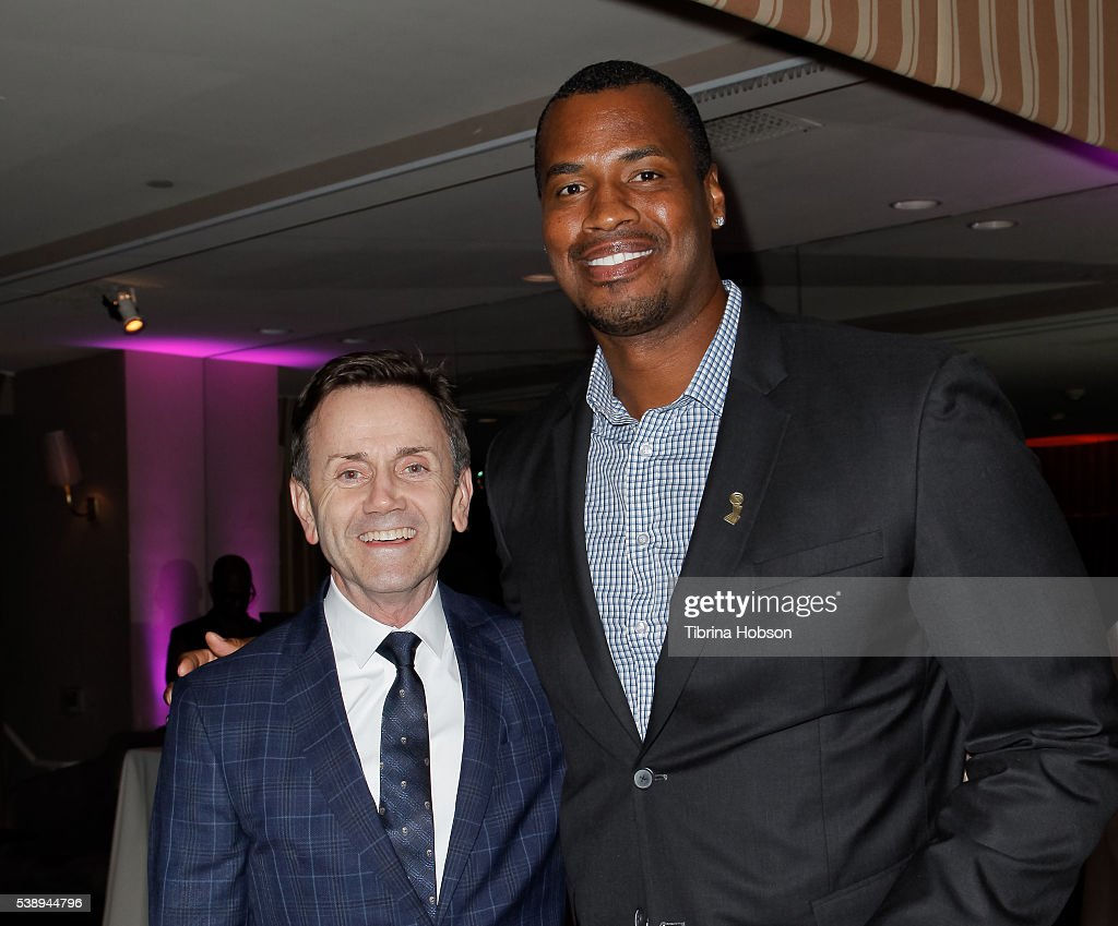 Chip Sullivan and Jason Collins attend GLSEN Pride Celebration in Los Angeles at Sunset Tower Hotel on June 8 2016 in West Hollywood California