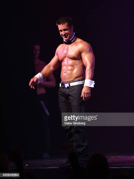 Chippendales alumni Tor Kristiansen performs during the 35th anniversary celebration of Chippendales at the Rio Hotel Casino on September 20 2014 in...