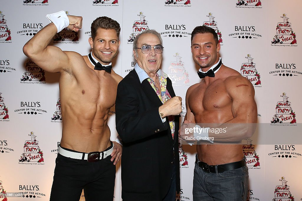 Chippendales dancer Jaymes Vaughan, actor and comedian Steve Rossi and Chippendales dancer James Davis flex their arms as they arrive at the Las Vegas premiere of 'Divorce Party' at the Windows Showroom at Bally's Las Vegas on March 13, 2014 in Las Vegas, Nevada.