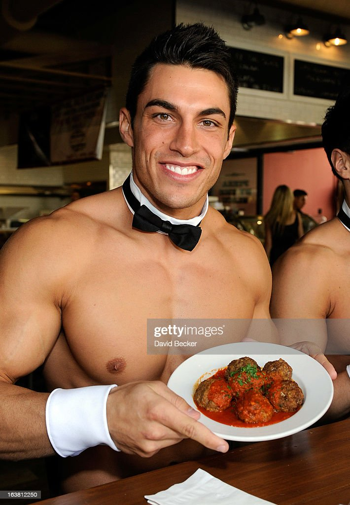 Chippendales dancer Jon Howes appears at the meatball eating contest at the Meatball Spot on March 16, 2013 in Las Vegas, Nevada.