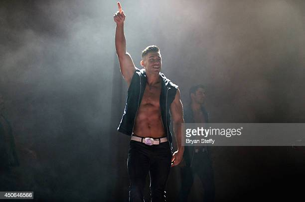 Chippendales dancer performs during Ian Ziering's return as Chippendales celebrity guest host at Chippendales at the Rio Hotel Casino on June 14 2014...