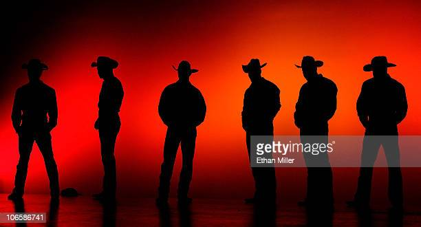 Chippendales dancers are silhouetted as they perform during the 'Ultimate Girls Night Out' show hosted by television personality Vienna Girardi at...