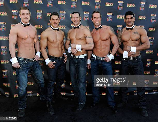 Chippendales dancers arrive at the grand opening of the KISS by Monster Mini Golf amusement attraction on March 15 2012 in Las Vegas Nevada