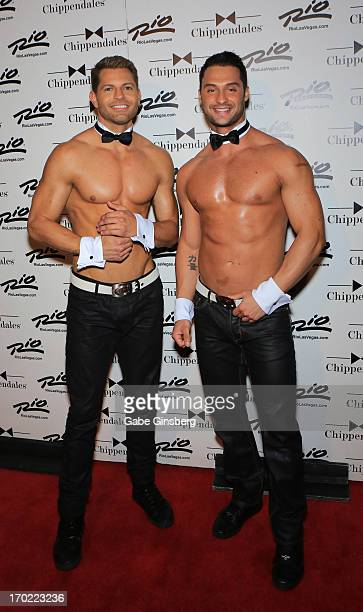 Chippendales dancers Jaymes Vaughan and James Davis appear during actor Ian Ziering's debut as a guest host at the Chippendales show at the Rio Hotel...
