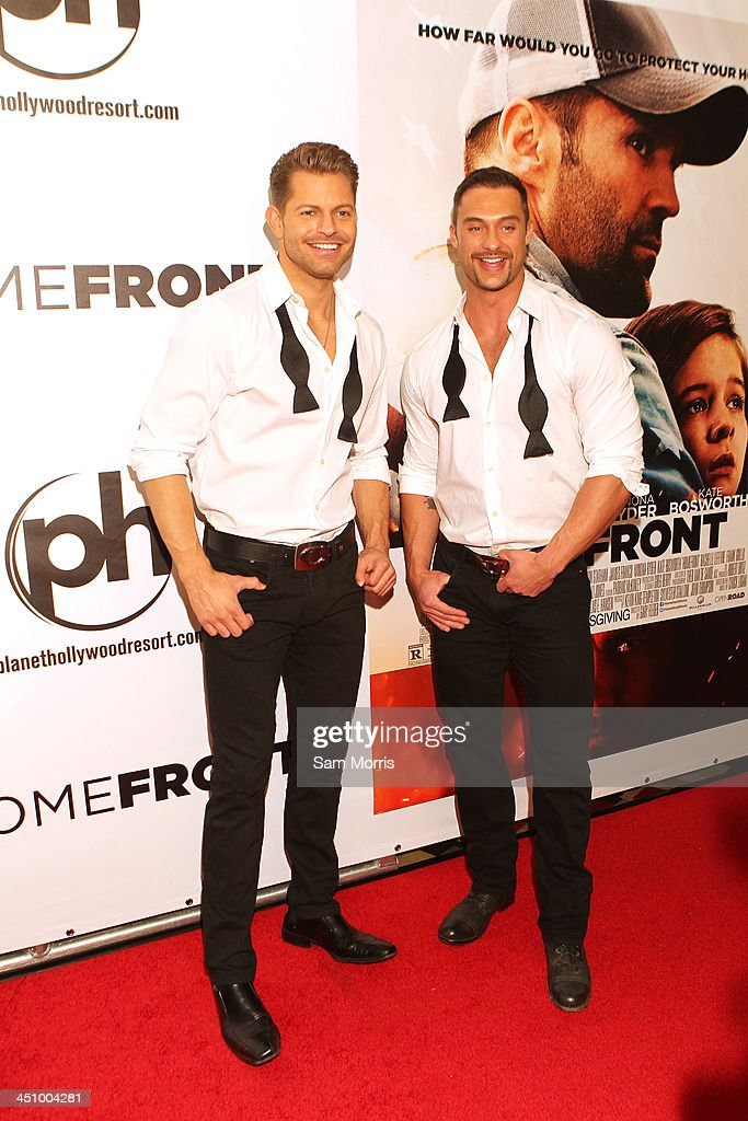 Chippendales dancers Jaymes Vaughan (L) and James Davis arrive at the Las Vegas premiere of Open Road Films''Homefront' at Planet Hollywood Resort & Casino on November 20, 2013 in Las Vegas, Nevada. The movie opens nationwide in the United States on November 27.