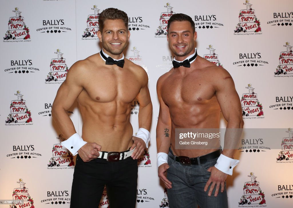 Chippendales dancers Jaymes Vaughan (L) and James Davis arrive at the Las Vegas premiere of 'Divorce Party' at the Windows Showroom at Bally's Las Vegas on March 13, 2014 in Las Vegas, Nevada.