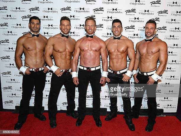 Chippendales dancers Louis De La Torre Sami Eskelin and actor Ian Ziering and Chippendales dancers John Howes and Ryan Stuart arrive at Chippendales...