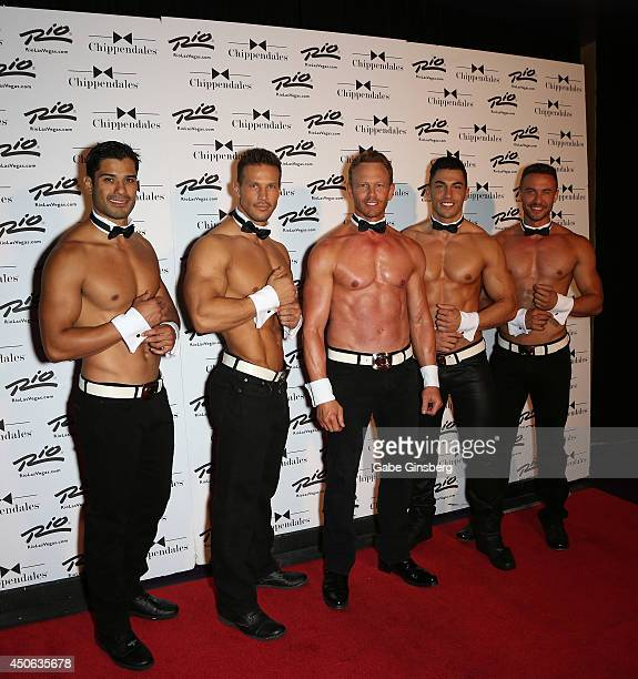 Chippendales dancers Luis De La Torre and Sami Eskelin actor Ian Ziering Chippendales dancers John Howes and Ryan Stuart arrive for Ziering's return...