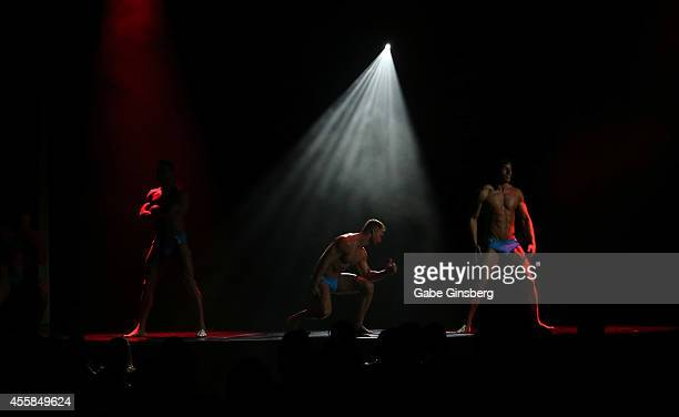Chippendales performers dance on stage during the 35th anniversary celebration of Chippendales at the Rio Hotel Casino on September 20 2014 in Las...