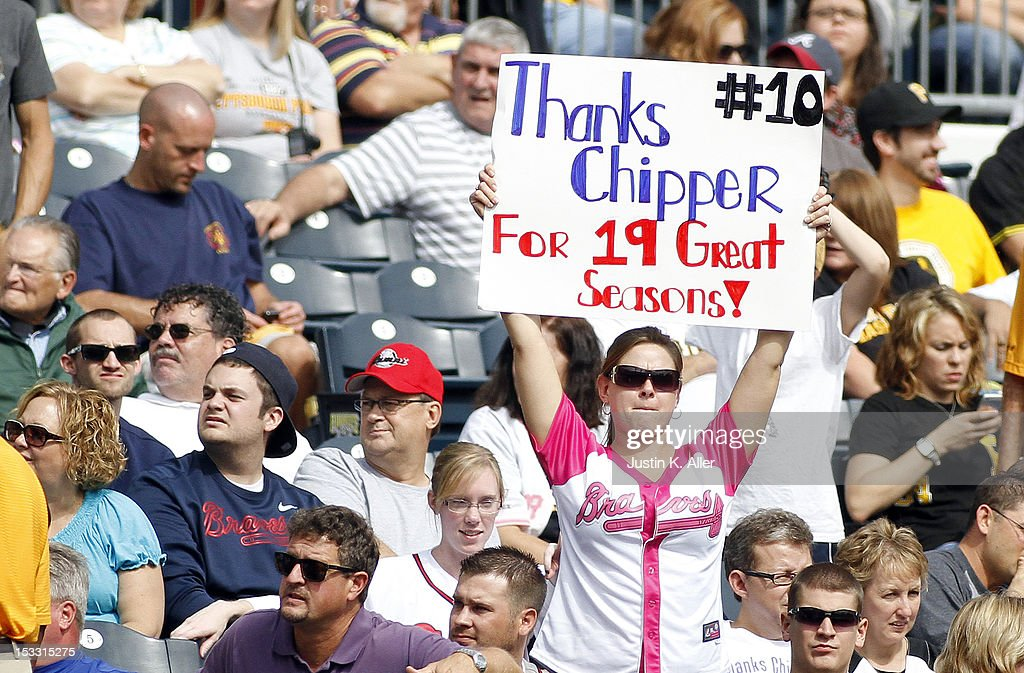 Chipper Jones fans show support during the game between the Pittsburgh Pirates and the Atlanta Braves on October 3, 2012 at PNC Park in Pittsburgh, Pennsylvania.
