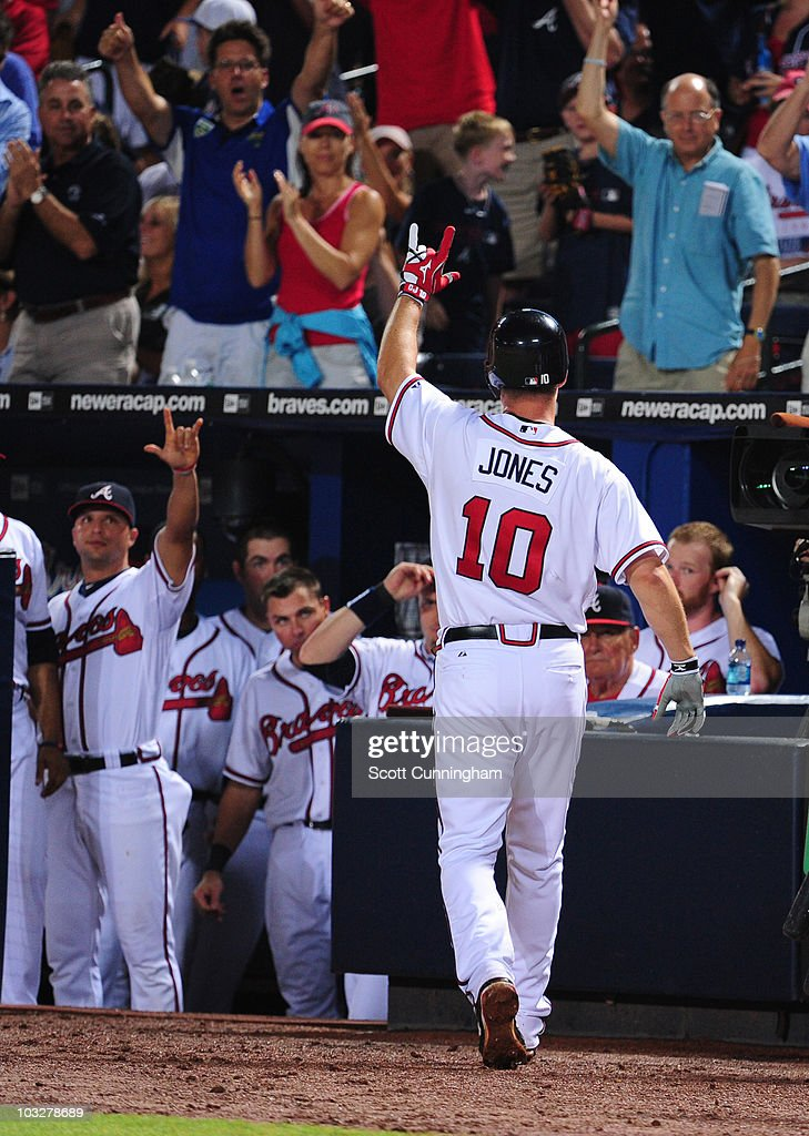 <a gi-track='captionPersonalityLinkClicked' href=/galleries/search?phrase=Chipper+Jones&family=editorial&specificpeople=171256 ng-click='$event.stopPropagation()'>Chipper Jones</a> #10 of the Atlanta Braves acknowledges the crowd after hitting a 6th inning home run against the San Francisco Giants at Turner Field on August 6, 2010 in Atlanta, Georgia. The Giants defeated the Braves 3-2.