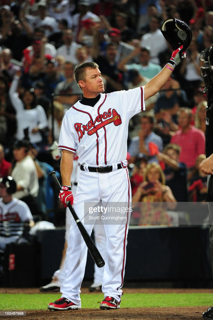 Chipper Jones #10 of the Atlanta Braves acknowledges the crowd before his last at-bat against the St. Louis Cardinals during the National League Wild Card Game at Turner Field on October 5, 2012 in Atlanta, Georgia.