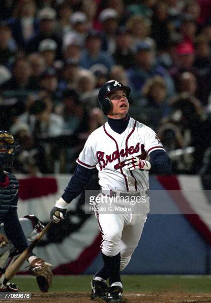 Chipper Jones of the Atlanta Braves batting in Game 1 of the World Series against the Cleveland Indians on October 21 1995 in Atlanta Georgia