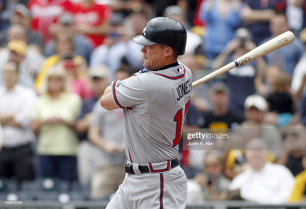 <a gi-track='captionPersonalityLinkClicked' href=/galleries/search?phrase=Chipper+Jones&family=editorial&specificpeople=171256 ng-click='$event.stopPropagation()'>Chipper Jones</a> #10 of the Atlanta Braves hits a single in the sixth inning during his final regular season at bat against the Pittsburgh Pirates during the game on October 3, 2012 at PNC Park in Pittsburgh, Pennsylvania.