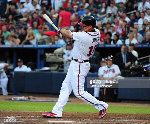 Chipper Jones of the Atlanta Braves hits against the St Louis Cardinals during the National League Wild Card Game at Turner Field on October 5 2012...