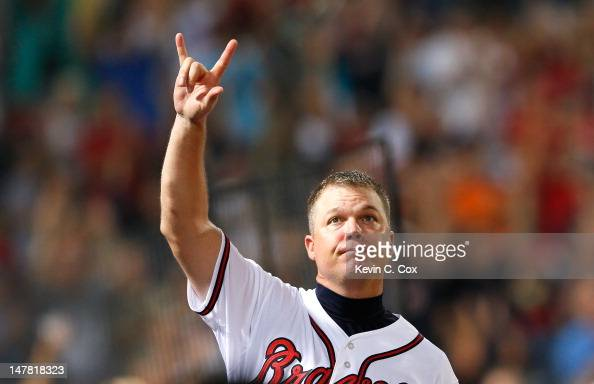 Chipper Jones of the Atlanta Braves reacts after hitting a single in the eighth inning against the Chicago Cubs at Turner Field on July 3 2012 in...
