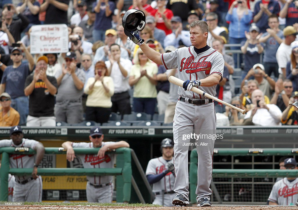 <a gi-track='captionPersonalityLinkClicked' href=/galleries/search?phrase=Chipper+Jones&family=editorial&specificpeople=171256 ng-click='$event.stopPropagation()'>Chipper Jones</a> #10 of the Atlanta Braves salutes the fans before his final regular season at bat against the Pittsburgh Pirates during the game on October 3, 2012 at PNC Park in Pittsburgh, Pennsylvania.