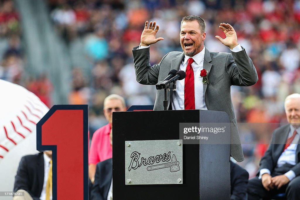 <a gi-track='captionPersonalityLinkClicked' href=/galleries/search?phrase=Chipper+Jones&family=editorial&specificpeople=171256 ng-click='$event.stopPropagation()'>Chipper Jones</a> #10 of the Atlanta Braves speaks to fans during his number retirement ceremony before the game against the Arizona Diamondbacks at Turner Field on June 28, 2013 in Atlanta, Georgia.