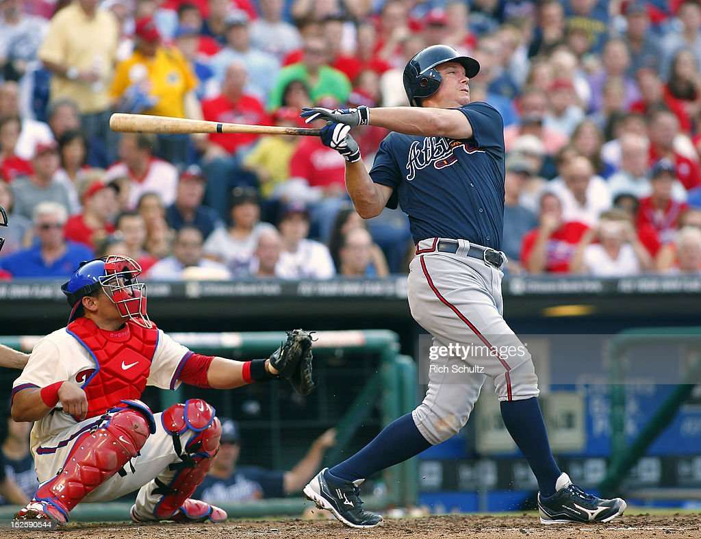 <a gi-track='captionPersonalityLinkClicked' href=/galleries/search?phrase=Chipper+Jones&family=editorial&specificpeople=171256 ng-click='$event.stopPropagation()'>Chipper Jones</a> #10 of the Atlanta Braves takes a swing against the Philadelphia Phillies during a MLB baseball game on September 22, 2012 at Citizens Bank Park in Philadelphia, Pennsylvania.