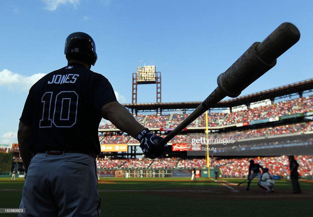 <a gi-track='captionPersonalityLinkClicked' href=/galleries/search?phrase=Chipper+Jones&family=editorial&specificpeople=171256 ng-click='$event.stopPropagation()'>Chipper Jones</a> #10 of the Atlanta Braves waits in the on deck circle as teammate Jason Heyward #22 bats during the second inning in a MLB baseball game on September 22, 2012 at Citizens Bank Park in Philadelphia, Pennsylvania.