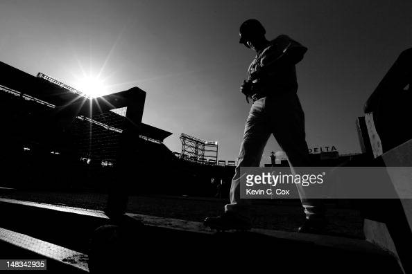 Chipper Jones of the Atlanta Braves walks off the field in the seventh inning against the New York Mets at Turner Field on July 14 2012 in Atlanta...