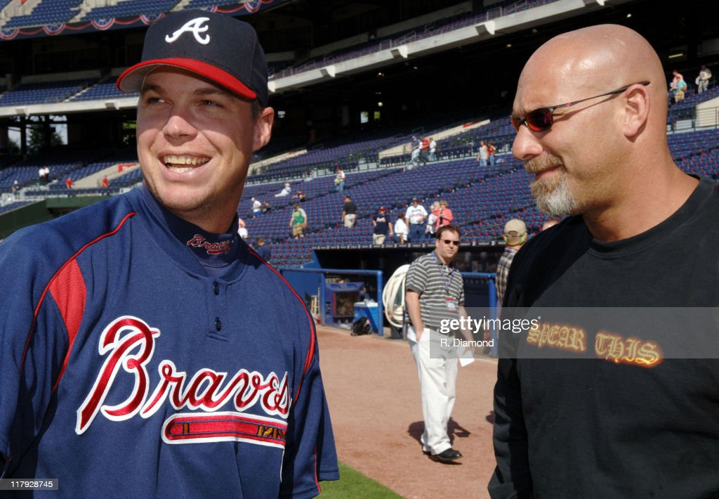 <a gi-track='captionPersonalityLinkClicked' href=/galleries/search?phrase=Chipper+Jones&family=editorial&specificpeople=171256 ng-click='$event.stopPropagation()'>Chipper Jones</a> of the Atlanta Braves with Bill <a gi-track='captionPersonalityLinkClicked' href=/galleries/search?phrase=Goldberg+-+Catch&family=editorial&specificpeople=4596290 ng-click='$event.stopPropagation()'>Goldberg</a>