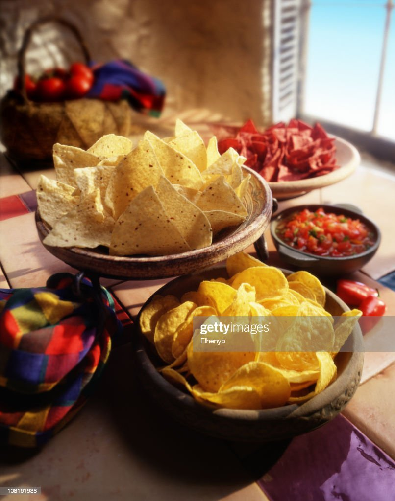 Chips and salsa in a festive spanish setting. : Stock Photo