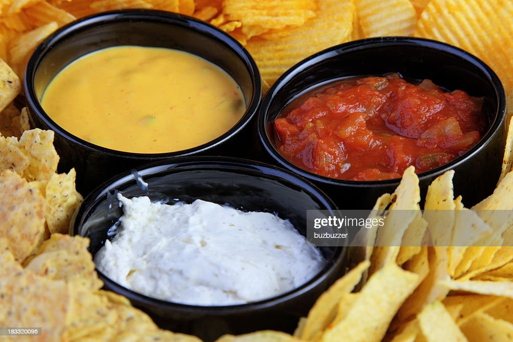 Chips and Sauces : Stock Photo