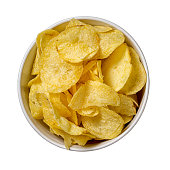 Chips in a plate isolated on white background