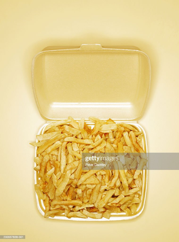 Chips in take out box, overhead view : Stock Photo